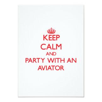 """Guarde la calma y vaya de fiesta con un aviador invitación 5"""" x 7"""""""