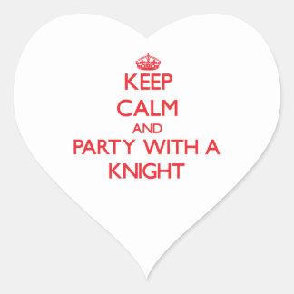 Guarde la calma y vaya de fiesta con un caballero calcomanía de corazón personalizadas