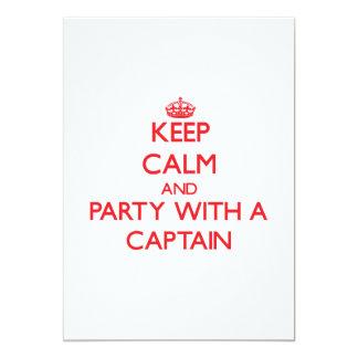 """Guarde la calma y vaya de fiesta con un capitán invitación 5"""" x 7"""""""