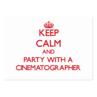 Guarde la calma y vaya de fiesta con un cinematógr tarjetas de visita