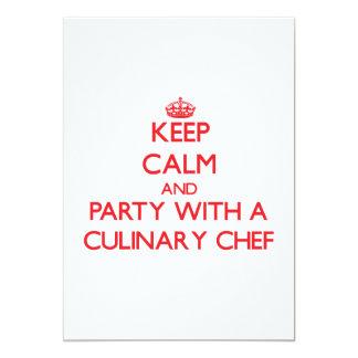 """Guarde la calma y vaya de fiesta con un cocinero invitación 5"""" x 7"""""""