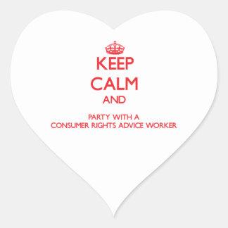 Guarde la calma y vaya de fiesta con un consejo de calcomania corazon