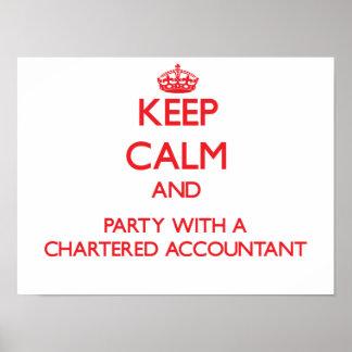 Guarde la calma y vaya de fiesta con un contable poster