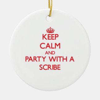 Guarde la calma y vaya de fiesta con un escribano adornos de navidad
