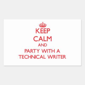 Guarde la calma y vaya de fiesta con un escritor t pegatina