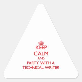 Guarde la calma y vaya de fiesta con un escritor t pegatinas