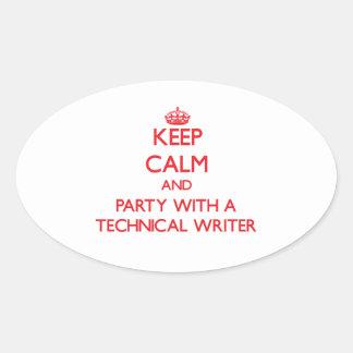 Guarde la calma y vaya de fiesta con un escritor t calcomanías de óvales