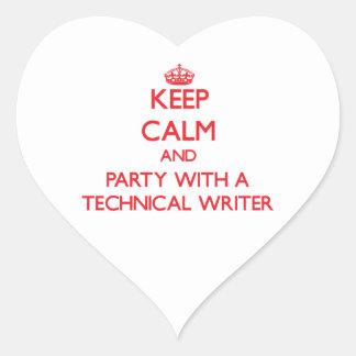Guarde la calma y vaya de fiesta con un escritor t calcomanías de corazones