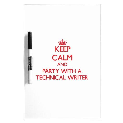 Guarde la calma y vaya de fiesta con un escritor t pizarras