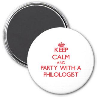 Guarde la calma y vaya de fiesta con un filólogo imán para frigorifico