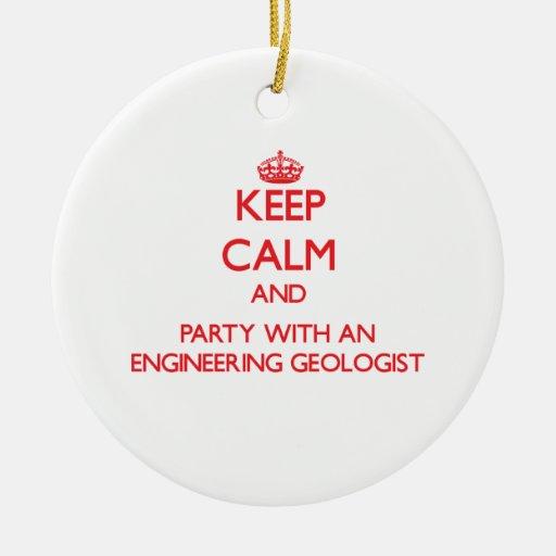 Guarde la calma y vaya de fiesta con un geólogo de ornamento para arbol de navidad