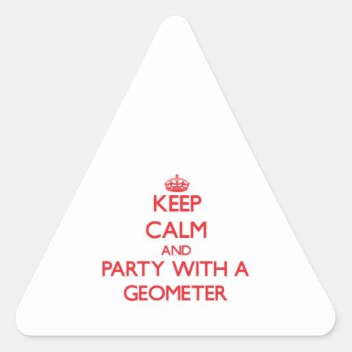 Guarde la calma y vaya de fiesta con un geómetra calcomanías de triangulos personalizadas