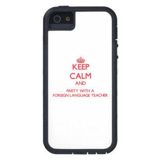 Guarde la calma y vaya de fiesta con un idioma ext iPhone 5 Case-Mate cárcasa
