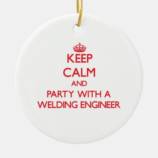 Guarde la calma y vaya de fiesta con un ingeniero  ornamento para reyes magos