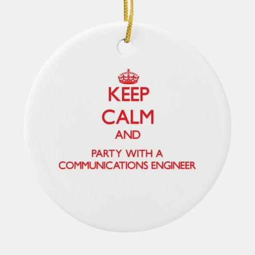 Guarde la calma y vaya de fiesta con un ingeniero  adornos de navidad