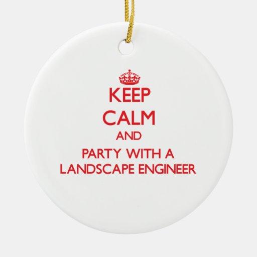 Guarde la calma y vaya de fiesta con un ingeniero  adorno de navidad