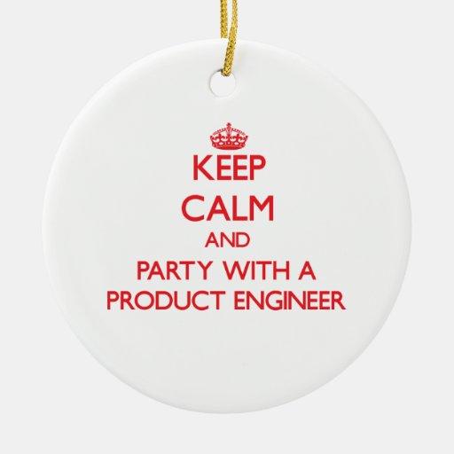 Guarde la calma y vaya de fiesta con un ingeniero  ornamento para arbol de navidad