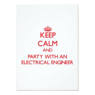 """Guarde la calma y vaya de fiesta con un ingeniero invitación 5"""" x 7"""""""