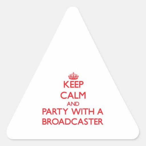 Guarde la calma y vaya de fiesta con un locutor pegatina triangular