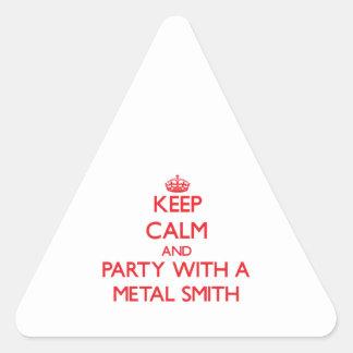 Guarde la calma y vaya de fiesta con un metal Smit Calcomanía De Triangulo