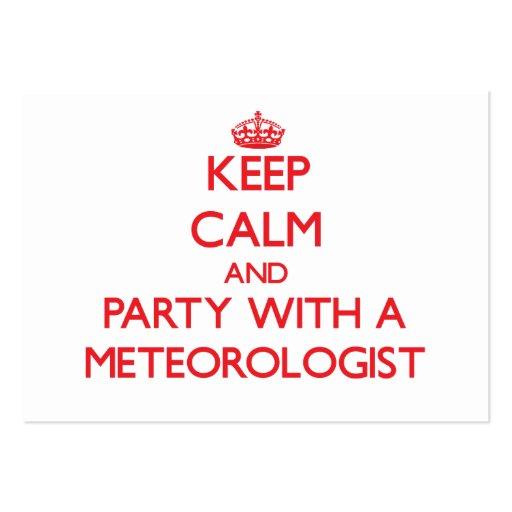 Guarde la calma y vaya de fiesta con un meteorólog tarjetas de visita