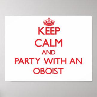 Guarde la calma y vaya de fiesta con un oboe poster