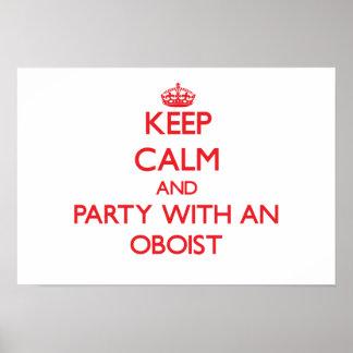 Guarde la calma y vaya de fiesta con un oboe posters