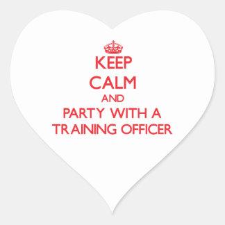 Guarde la calma y vaya de fiesta con un oficial de calcomanías corazones personalizadas