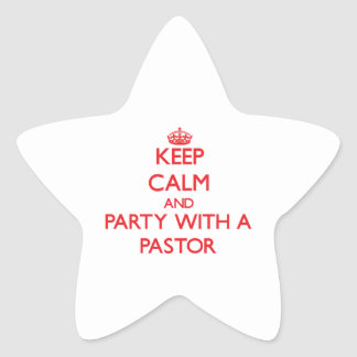 Guarde la calma y vaya de fiesta con un pastor pegatinas forma de estrella