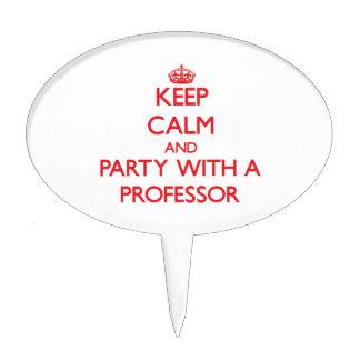 Guarde la calma y vaya de fiesta con un profesor figura para tarta