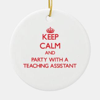 Guarde la calma y vaya de fiesta con un profesor adorno redondo de cerámica