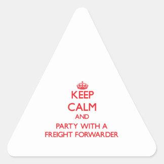 Guarde la calma y vaya de fiesta con un promotor d pegatina triangulo personalizadas
