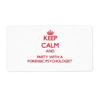 Guarde la calma y vaya de fiesta con un psicólogo  etiqueta de envío