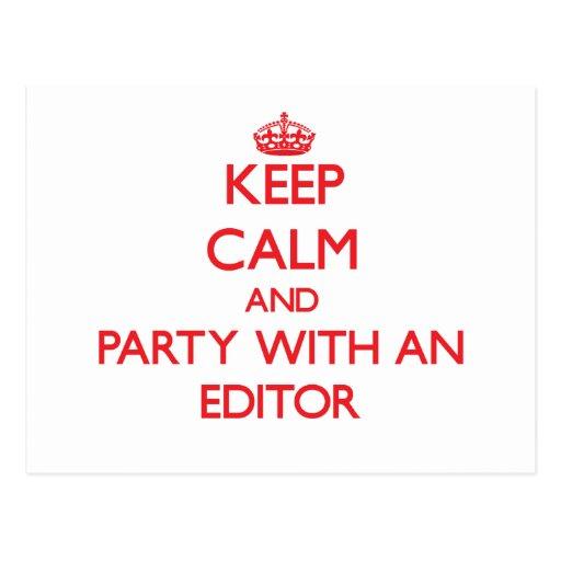 Guarde la calma y vaya de fiesta con un redactor tarjeta postal