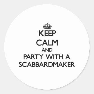 Guarde la calma y vaya de fiesta con un Scabbardma Pegatinas