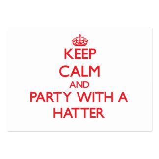 Guarde la calma y vaya de fiesta con un sombrerero tarjetas de visita grandes