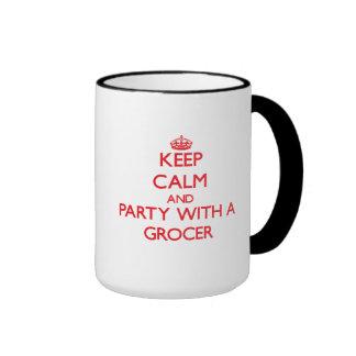 Guarde la calma y vaya de fiesta con un tendero tazas