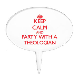 Guarde la calma y vaya de fiesta con un teólogo decoraciones para tartas