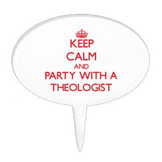 Guarde la calma y vaya de fiesta con un teólogo figuras de tarta