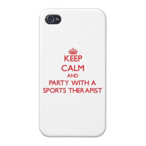 Guarde la calma y vaya de fiesta con un terapeuta  iPhone 4 cárcasas