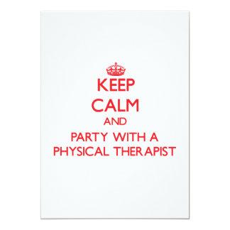 """Guarde la calma y vaya de fiesta con un terapeuta invitación 5"""" x 7"""""""