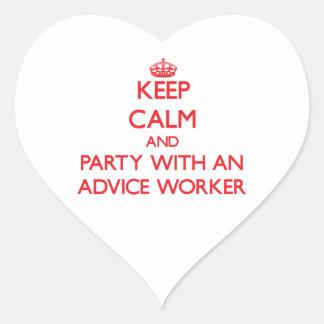 Guarde la calma y vaya de fiesta con un trabajador pegatina corazón