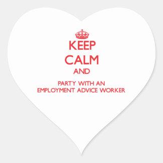 Guarde la calma y vaya de fiesta con un trabajo de calcomanías de corazones personalizadas