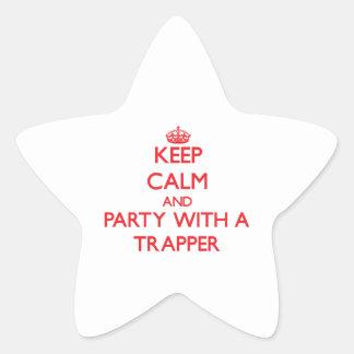 Guarde la calma y vaya de fiesta con un trampero pegatinas forma de estrellaes personalizadas