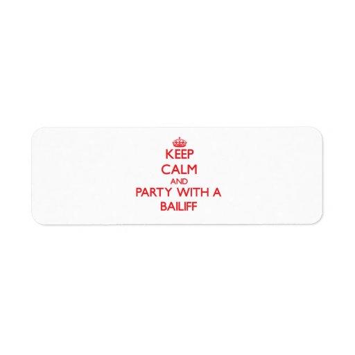Guarde la calma y vaya de fiesta con un ujier etiquetas de remite