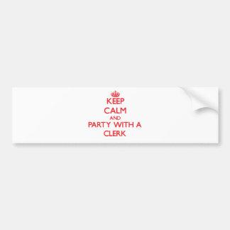 Guarde la calma y vaya de fiesta con un vendedor etiqueta de parachoque