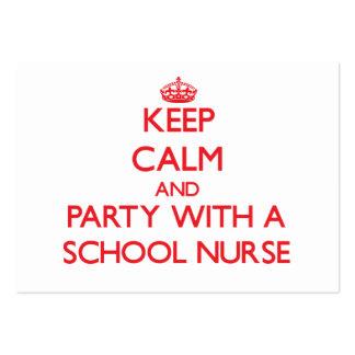 Guarde la calma y vaya de fiesta con una enfermera plantilla de tarjeta de visita