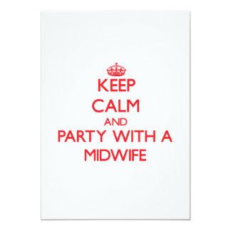 Guarde la calma y vaya de fiesta con una partera invitación 12,7 x 17,8 cm