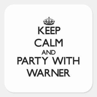 Guarde la calma y vaya de fiesta con Warner Pegatina Cuadradas Personalizada