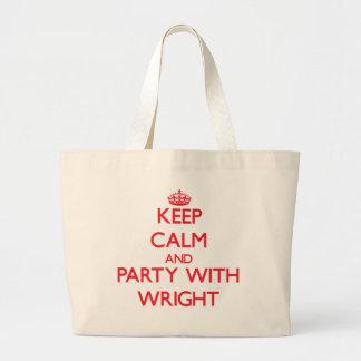 Guarde la calma y vaya de fiesta con Wright Bolsas Lienzo